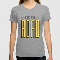 Always On The Road Womens Fitted Tee Tri-Grey SMALL