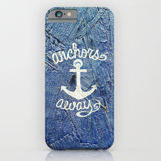 White Nautical Anchors Blue Vintage Wood Texture iPhone & iPod Case