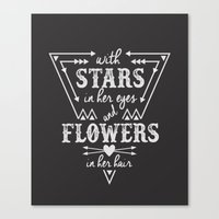 Stars in Her Eyes Flowers in Her Hair Canvas Print