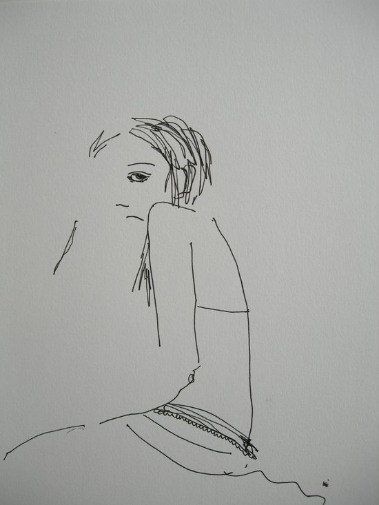 'Rock' Sketch (#girl pen drawing) Art Print