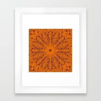 Orange and blue mandala Framed Art Print