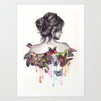 woman Art Prints featuring Butterfly Effect by KatePowellArt