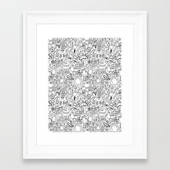 Infinity Robots Black & White Framed Art Print