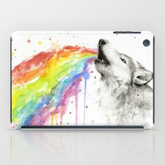 Wolf Rainbow Watercolor iPad Case