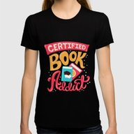 Certified Book Addict Womens Fitted Tee Black SMALL
