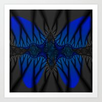 Blue fractal Butterfly Art Print