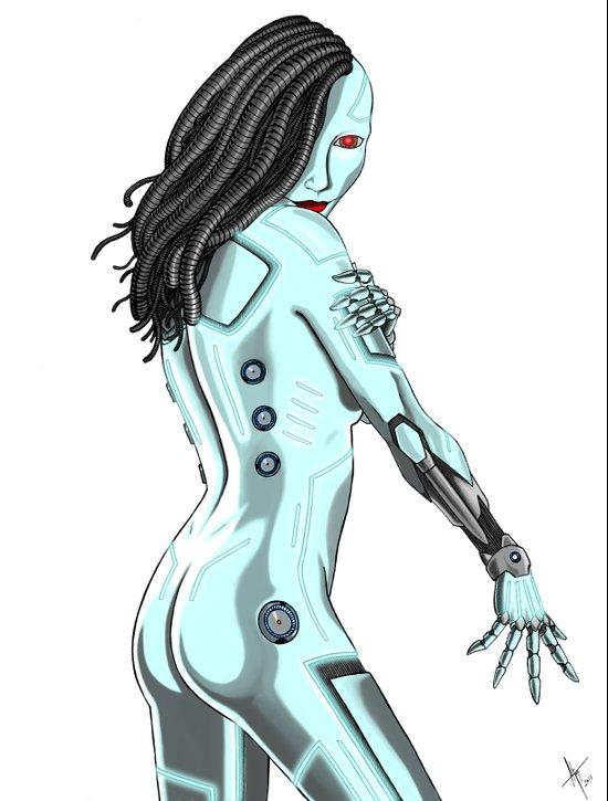 Topless Robot Pinup Style Art Print