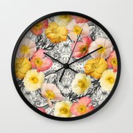 Wall Clock featuring Collage Of Poppies And P… by Micklyn
