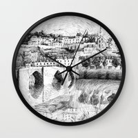 Terrasson village - Black ink Wall Clock