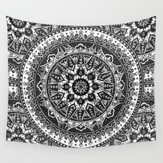 Black and White Mandala Pattern Wall Tapestry