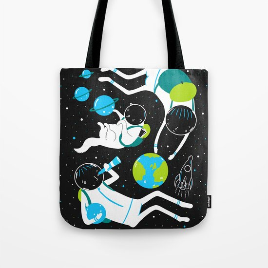 A Day Out In Space - Black Tote Bag