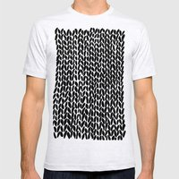 Hand Knitted Black S Mens Fitted Tee Ash Grey SMALL