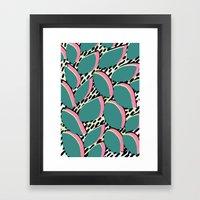 80s leaf pattern Framed Art Print