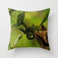 Green Snake In The Trees Throw Pillow