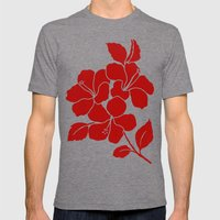 Hibiscus Animal RED IVOR… Mens Fitted Tee Tri-Grey SMALL
