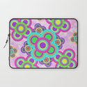 Psychedelic Pattern Hot Pink Teal Abstract Flowers Laptop Sleeve