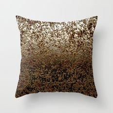 Caramelized Chocolate Brown Wet Crackle Pattern Throw Pillow