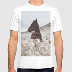 Snowy Horse White Mens Fitted Tee SMALL