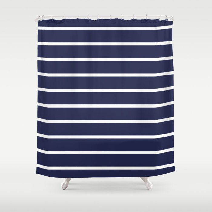 navy white stripe pattern shower curtain by rexlambo society6
