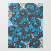 In Bloom (blue & grey) Canvas Print