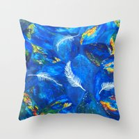 Four Feathers Throw Pillow