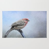 Finch In The Snow Rug