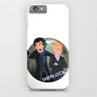 iPhone & iPod Case featuring Sherlock Holmes and Watson cartoon by Aaron Lecours