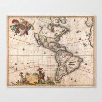 1658 Visscher Map Of Nor… Canvas Print
