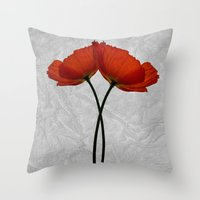 Two poppys Throw Pillow