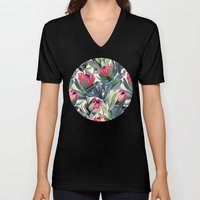 Painted Protea Pattern Unisex V-Neck