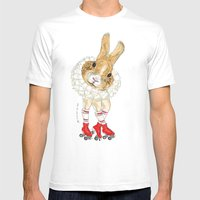 Roller Bunny Mens Fitted Tee White SMALL