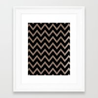 Black and Gold Glitter Chevron Framed Art Print