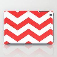Red Chevron Lines iPad Case