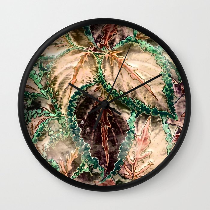 Amazing Shiny Leaves Wall Clock By Mehrfarbeimleben Society6