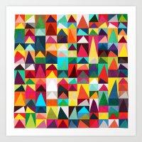 Abstract Geometric Mountains Art Print