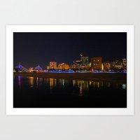 Zakim Bridge At Night  Art Print