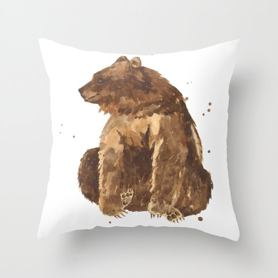 Bear, brown bear, guy art, man cave, woodsman, forestry lover, wild thing, daniel boone person Throw Pillow