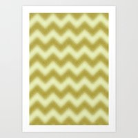 Chevron Gold Berry Art Print