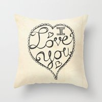 I Love You Sketch Throw Pillow