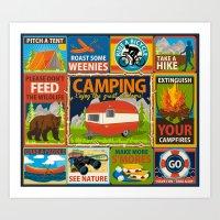 Camping Crests Art Print