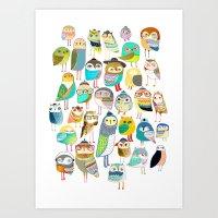 Owls. Owl Illustration, … Art Print