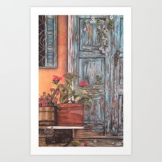 Blue Door with Window Art Print