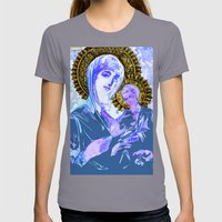 Mary and Jesus  Womens Fitted Tee Slate SMALL