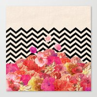 Chevron Flora II Canvas Print