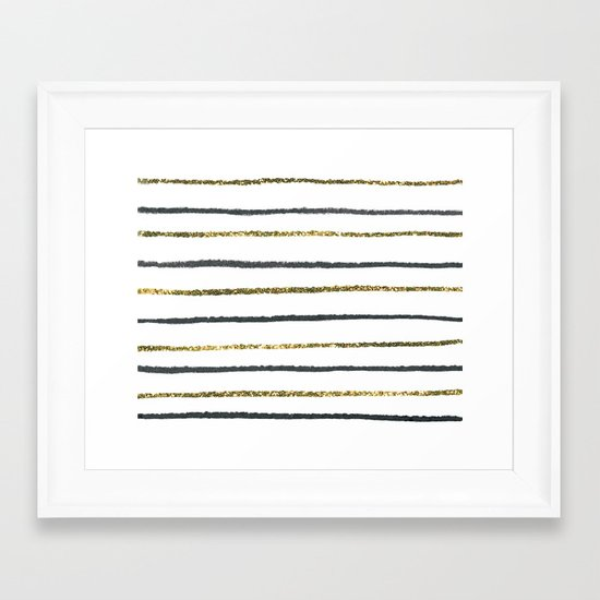 Golden Black Framed Art Print