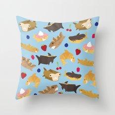 Shark Loafs - Blue Throw Pillow