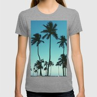 Palm Trees Womens Fitted Tee Tri-Grey SMALL