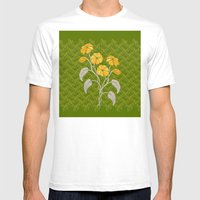 Flowers Green Pattern Mens Fitted Tee White SMALL