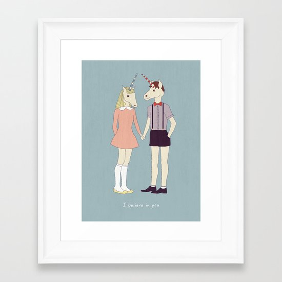 Our love is unique, we are Unicorns (text version) Framed Art Print