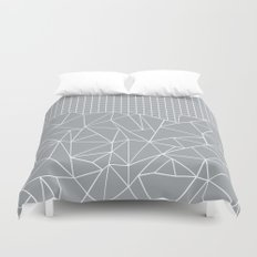 Abstract Outline Grid Grey Duvet Cover